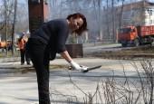 Серия из 10 фотографий: Субботник на главной площадке городского округа Истра, 21 апреля 2018 год.