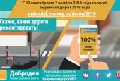 Голосование на портале «Добродел» по ремонту дорог на 2019 год